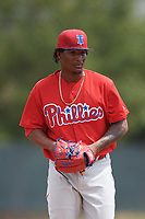 Philadelphia Phillies pitcher Sixto Sanchez (66) during a Minor League Spring Training game against the Toronto Blue Jays on March 30, 2018 at Carpenter Complex in Clearwater, Florida.  (Mike Janes/Four Seam Images)