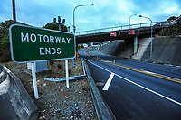 Wellington urban motorway at 8am during Level 4 lockdown for the COVID-19 pandemic in Wellington, New Zealand on Monday, 23 August 2021.