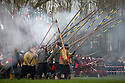 24/01/16<br /> <br /> Seven hundred Sealed Knot 'soldiers' reenact the Battle of Nantwich in on a field next to the the river Weaver in Nantwich, Cheshire.<br /> <br /> The Battle of Nantwich was fought during the First English Civil War, between the Parliamentarians and Royalists, northwest of the town of Nantwich in Cheshire on 25 January 1644. <br /> <br /> The Royalists under Lord Byron were besieging Nantwich, and Sir Thomas Fairfax led an army to relieve the town. As Fairfax approached, a sudden thaw caused the River Weaver to rise in spate, dividing Byron's cavalry from his infantry and artillery, who were overrun and destroyed by Fairfax.<br /> <br /> The Parliamentarian victory halted a run of Royalist successes in the area, and was a major setback to King Charles I's plan of campaign for the year.<br /> <br /> All Rights Reserved: F Stop Press Ltd. +44(0)1335 418365   +44 (0)7765 242650 www.fstoppress.com