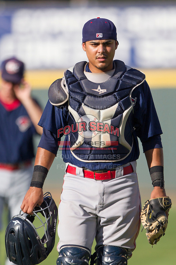 Oklahoma City RedHawks catcher Rene Garcia (3) before the Pacific Coast League baseball game against the Round Rock Express on August 25, 2013 at the Dell Diamond in Round Rock, Texas. Round Rock defeated Oklahoma City 9-2. (Andrew Woolley/Four Seam Images)