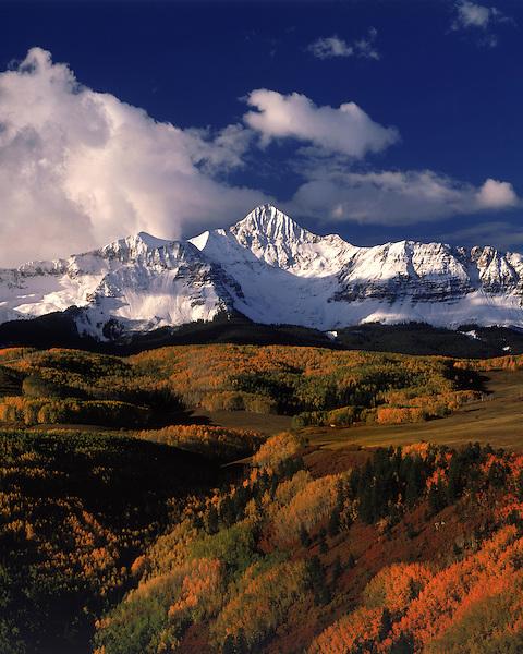 Wilson Peak with autumn Aspen trees, Telluride, Colorado, USA.