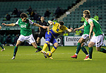 Hibs v St JohnstoneÖ24.11.20   Easter Road      SPFL<br /> Guy Melamed is surrounded by Hbs defenders<br /> Picture by Graeme Hart.<br /> Copyright Perthshire Picture Agency<br /> Tel: 01738 623350  Mobile: 07990 594431