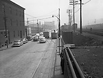 Pittsburgh PA: Location photography for Railway Express; accident site on Liberty Avenue and 22nd Street in the Strip District near the Railway Express offices. Railway Express was a door-to-door package delivery company in Pittsburgh, similar to UPS and FedEx Ground.