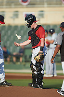 Kannapolis Intimidators catcher Gunnar Troutwine (37) uses the rosin bag during the game against the Rome Braves at Kannapolis Intimidators Stadium on July 2, 2019 in Kannapolis, North Carolina.  The Intimidators walked-off the Braves 5-4. (Brian Westerholt/Four Seam Images)