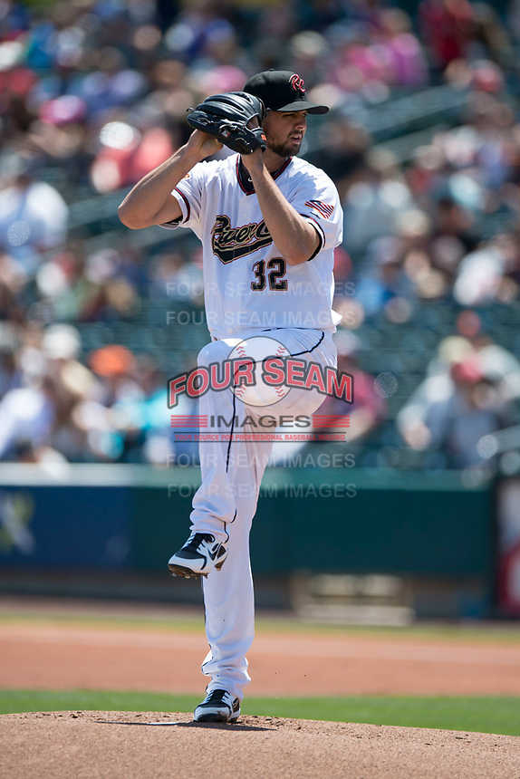 Sacramento RiverCats starting pitcher Tyler Beede (32) prepares to deliver a pitch to the plate during a Pacific Coast League against the Tacoma Rainiers at Raley Field on May 15, 2018 in Sacramento, California. Tacoma defeated Sacramento 8-5. (Zachary Lucy/Four Seam Images)
