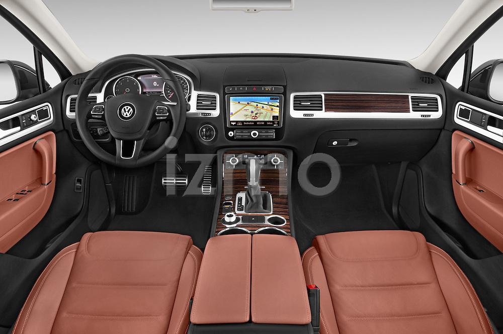 Stock photo of straight dashboard view of 2017 Volkswagen Touareg Executive 5 Door SUV Dashboard