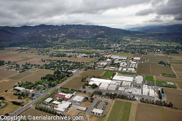 aerial photograph of St. Helena toward the north, Napa County, California; a large wine processing and storage facility located at Chaiz Lane and Highway 29 in St Helena