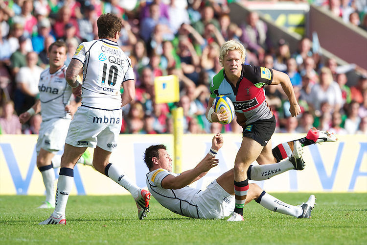 Matt Hopper of Harlequins in action during the Aviva Premiership match between Harlequins and Sale Sharks at The Twickenham Stoop on Saturday 15th September 2012 (Photo by Rob Munro)