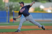 Elizabethton Twins starting pitcher Robb Hein #48 delivers a pitch during a game against the Kingsport Mets at Hunter Wright Stadium on June 29, 2013 in Kingsport, Tennessee. The Mets won the game 5-4. (Tony Farlow/Four Seam Images)