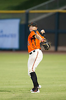 AZL Giants right fielder Diego Rincones (35) warms up in the outfield between innings of a game against the AZL Padres 2 on July 13, 2017 at Scottsdale Stadium in Scottsdale, Arizona. AZL Giants defeated the AZL Padres 2 11-3. (Zachary Lucy/Four Seam Images)