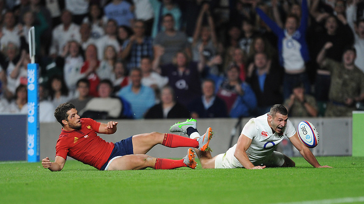 Jonny May of England has a try disallowed - 15/08/2015 - Twickenham Stadium - London <br /> Mandatory Credit: Rob Munro/Stewart Communications