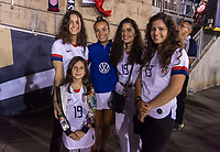 PASADENA, CA - AUGUST 4: Mallory Pugh #3 poses with the family of Gianni Infantino during a game between Ireland and USWNT at Rose Bowl on August 3, 2019 in Pasadena, California.