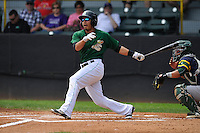 Clinton LumberKings Rayder Ascanio (13) swings during the Midwest League game against the Beloit Snappers at Ashford University Field on June 12, 2016 in Clinton, Iowa.  The LumberKings won 1-0.  (Dennis Hubbard/Four Seam Images)