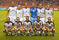 The USA women's national team lines up before their Group B first round game against Nigeria at Hongkou Stadium in Shanghai, China on September 18. The USA defeated Nigeria, 1-0.