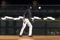 AZL Giants Black left fielder Kwan Adkins (8) takes a lead off second base during an Arizona League game against the AZL Rangers at Scottsdale Stadium on August 4, 2018 in Scottsdale, Arizona. The AZL Giants Black defeated the AZL Rangers by a score of 6-3 in the second game of a doubleheader. (Zachary Lucy/Four Seam Images)