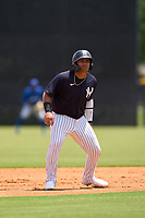 FCL Yankees Jasson Dominguez (25) leads off second base during a game against the FCL Blue Jays on June 29, 2021 at the Yankees Minor League Complex in Tampa, Florida.  (Mike Janes/Four Seam Images)