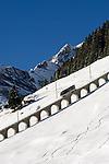 CHE, Schweiz, Kanton Bern, Berner Oberland, Muerren: Allmendhubelbahn (Standseilbahn)   CHE, Switzerland, Canton Bern, Bernese Oberland, Muerren: Allmendhubel funicular