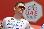 Irish Champion Sam Bennett (IRL) Deceuninck-Quick Step at sign on before Stage 4 the Emirates NBD Stage of the UAE Tour 2020 running 173km from Dubai Zabeel Park to Dubai City Walk, Dubai. 26th February 2020.<br /> Picture: LaPresse/Fabio Ferrari | Cyclefile<br /> <br /> All photos usage must carry mandatory copyright credit (© Cyclefile | LaPresse/Fabio Ferrari)