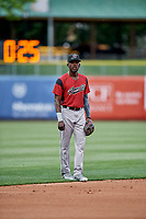 Orlando Calixte (2) of the Sacramento River Cats on defense against the Salt Lake Bees at Smith's Ballpark on May 17, 2018 in Salt Lake City, Utah. Salt Lake defeated Sacramento 12-11. (Stephen Smith/Four Seam Images)