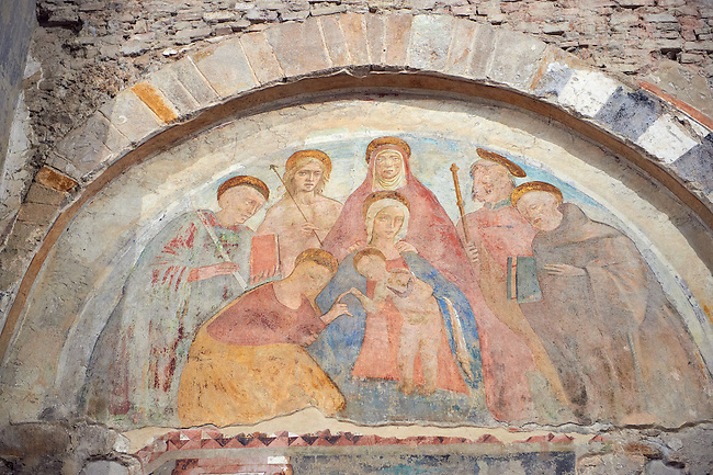 Medieval Fresco of the Madonna and Child in Santi Giovanni e Reparata, Lucca, Tunscany, Italy