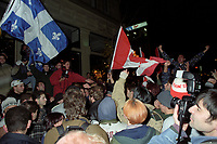 October 30, 1995 File Photo -  Partisans of both YES and NO camps  clash in the street of Montreal moments after the results of the 1995 referendum on Quebec province independance and separation from Canada<br /> <br /> The YES camp lost by a very slight margin.
