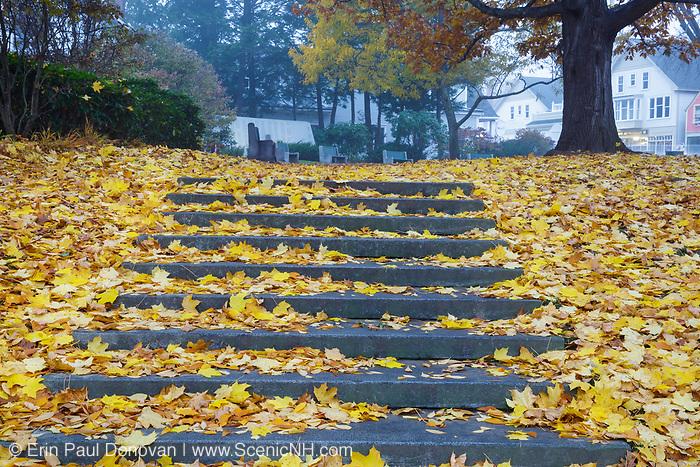 The Camden Village Green in Camden, Maine during the autumn months.