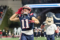 FOXBORO, MA - OCTOBER 10: New England Patriots Wide Receiver Julian Edelman (11) game entrance with Pat the Patriot during a game between New York Giants and New England Patriots at Gillettes on October 10, 2019 in Foxboro, Massachusetts.