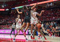 COLLEGE PARK, MD - FEBRUARY 9: Zipporah Broughton #1 of Rutgers and Kaila Charles #5 of Maryland clash under the basket during a game between Rutgers and Maryland at Xfinity Center on February 9, 2020 in College Park, Maryland.