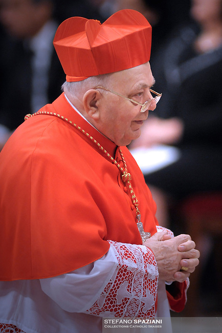 Newly-elevated Cardinal ring to Italian Elio Sgreccia  , who is one of the 24 new cardinals installed by Pope Benedict XVI (not pictured) during the Consistory ceremony in Saint Peter's Basilica at the Vatican, 20 November 2010. Reports state that Pope Benedict XVI installed 24 new Roman Catholic cardinals from around the world on 20 November 2010 in his latest batch of appointments that could include his successor as leader of the 1.2 billion member church