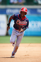 Peoria Chiefs center fielder Magneuris Sierra (34) running the bases during the first game of a doubleheader against the South Bend Cubs on July 25, 2016 at Four Winds Field in South Bend, Indiana.  South Bend defeated Peoria 9-8.  (Mike Janes/Four Seam Images)