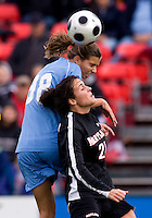 Tobin Heath, Molly Dreska. UNC defeated Maryland, 1-0, during the regular season finale at College Park, Maryland.
