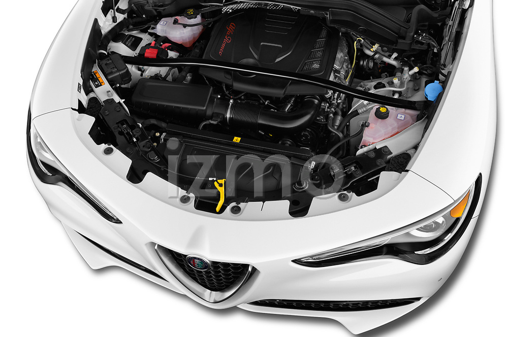 Car stock 2019 GMC Sierra 1500 SLT 4 Door Pick Up engine high angle detail view