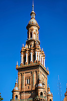 The North Tower of the Plaza de Espana in Seville built in 1928 for the Ibero-American Exposition of 1929, Seville Spain