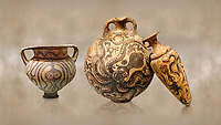 Minoan pottery with stylised octopus decorations, 1500-1400 BC, Heraklion Archaeological Museum.  <br /> <br /> From Left to right<br /> 1- Krater Episkopi Lerapetra 1370-1250 BC, <br /> 2- flask with Marine style stylised octopus design,   Palaikastro,  1500-1450 BC; <br /> 3- far right  conical rhython with Marine style stylised octopus design,   Palaikastro 1500-1450 BC;