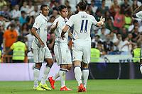 Real Madrid's James Rodriguez, Bale and Danilo during the XXXVII Bernabeu trophy between Real Madrid and Stade de Reims at the Santiago Bernabeu Stadium. August 15, 2016. (ALTERPHOTOS/Rodrigo Jimenez) /NORTEPHOTO