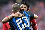 Diego Costa of Atletico de Madrid hugs Joao Miranda de Souza Filho of FC Internazionale prior to their International Champions Cup Europe 2018 match between Atletico de Madrid and FC Internazionale at Wanda Metropolitano on 11 August 2018, in Madrid, Spain. Photo by Diego Souto / Power Sport Images