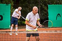 Hilversum, The Netherlands,  August 20, 2021,  Tulip Tennis Center, NKS, National Senior Tennis Championships, Men's Doubles 80+,  Be Lenten (NED) (R) and Peter Blaas (NED)<br /> Photo: Tennisimages/Henk Koster