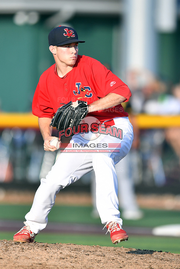 Johnson City Cardinals pitcher Dylan Pearce (38) delivers a pitch during game three of the Appalachian League, West Division Playoffs against the Bristol Pirates at TVA Credit Union Ballpark on September 1, 2019 in Johnson City, Tennessee. The Cardinals defeated the Pirates 7-5 to win the series 2-1. (Tony Farlow/Four Seam Images)