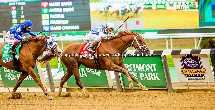 "OCT10, 2020 : Happy Saver with Irad Ortiz aboard, wins the ""Win & You're In""   Grade 1 Jockey Club Gold Cup Stakes, going 1 1/14s, at Belmont Park, Elmont, NY.  Sue Kawczynski/Eclipse Sportswire/CSM"