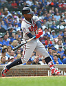 Atlanta Braves Ronald Acuna #13 during a game against the Chicago Cubs on May 14, 2018 at Wrigley Field in Chicago, IL. The Braves beat the Cubs 6-5.