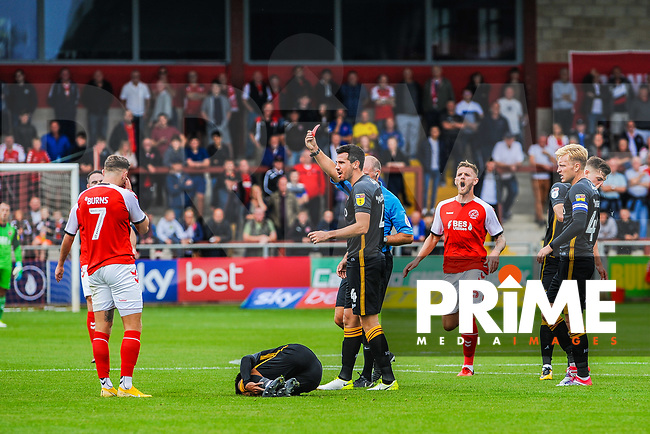 Fleetwood Town's forward Wes Burns (7) shown the red card by referee A Haines during the Sky Bet League 1 match between Fleetwood Town and Bradford City at Highbury Stadium, Fleetwood, England on 1 September 2018. Photo by Stephen Buckley / PRiME Media Images.