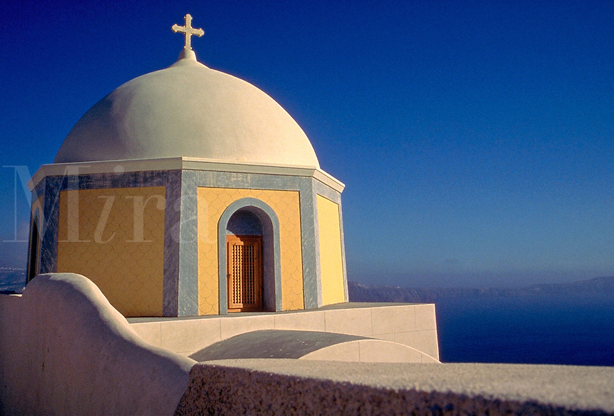 The cupola of a Greek Orthodox church. architecture, Christianity, religions, detail. Santorini, Greece bay.