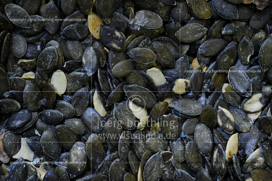 Austria Styria, cultivation of pumpkin, the seeds are used for processing of pumpkin seed oil, oil mill Karl Hoefler / Oesterreich Steiermark, Anbau von Kuerbis und Verarbeitung zu Kuerbiskernoel, Oelmuehle Karl Hoefler in Kaindorf, getrocknete Kuerbiskerne