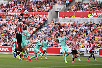 11th September 2021; Brentford Community Stadium, London, England;  Premier League football, Brentford versus Brighton Athletic; Ivan Toney of Brentford heads at goal from a free kick