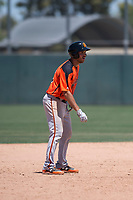 San Francisco Giants Orange designated hitter Connor Sabanosh (12) takes a lead off second base during an Extended Spring Training game against the Oakland Athletics at the Lew Wolff Training Complex on May 29, 2018 in Mesa, Arizona. (Zachary Lucy/Four Seam Images)
