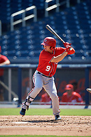 Washington Nationals J.T. Arruda (9) at bat during an Instructional League game against the Miami Marlins on September 26, 2019 at FITTEAM Ballpark of The Palm Beaches in Palm Beach, Florida.  (Mike Janes/Four Seam Images)