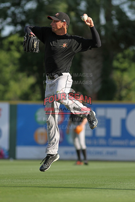 Frederick Keys pitcher Jason Gurka #36 fielding during batting practice before a game against the Myrtle Beach Pelicans at Tickerreturn.com Field at Pelicans Ballpark on April 24, 2012 in Myrtle Beach, South Carolina. Frederick defeated Myrtle Beach by the score of 8-3. (Robert Gurganus/Four Seam Images)