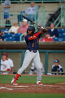 State College Spikes Terry Fuller (7) at bat during a NY-Penn League game against the Mahoning Valley Scrappers on August 29, 2019 at Eastwood Field in Niles, Ohio.  State College defeated Mahoning Valley 8-1.  (Mike Janes/Four Seam Images)