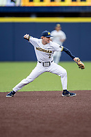 Michigan Wolverines shortstop Jack Blomgren (2) makes a throw to first base in the NCAA baseball game against the Michigan State Spartans on May 7, 2019 at Ray Fisher Stadium in Ann Arbor, Michigan. Michigan defeated Michigan State 7-0. (Andrew Woolley/Four Seam Images)