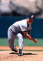 Bartolo Colon of the Cleveland Indians plays in a baseball game at Edison International Field during the 1998 season in Anaheim, California. (Larry Goren/Four Seam Images)